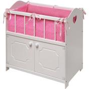 Badger Basket White Storage Doll Crib with Beddin