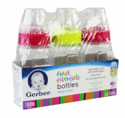 NUK First Essentials Clear View Bottle, Slow Flow, 3 Count, Pink/Green