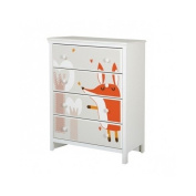 South Shore Cotton Candy 4-Drawer Chest with Fox Ottograff Decals, Pure White