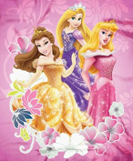 Disney Princess Shining Flowers Belle Aurora Rapunzel Tangled 40x50 Mink Style Blanket in Gift Box