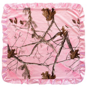 Realtree Pink Camouflage Camo Baby Blanket Cover With Satin Edging