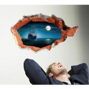MLMSZ 3D Broken Wall Ship Sun Sea PVC Vinyl Wall Sticker Decal for Kids Rooms Decor Home Decals Art Mural