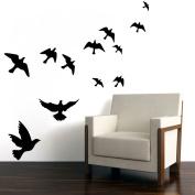 MLMSZ Flying Black Bird Flying High to Sky 3D Creative Removable DIY Vinyl Wall Sticker Mural Decal Art Décor