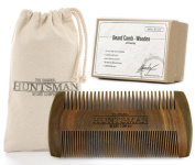 Premium Beard Comb - Handmade Sandalwood Beard and Moustache Comb - Fine and Coarse Tooth [No.9] - Mouth Watering Scent - In a Rustic Gift Bag and Stylish Giftbox