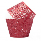 TStoy 100pcs Filigree Little Vine Lace Laser Cut Cupcake Wrapper Liner Baking Cup Muffin Case Trays Wedding Birthday Party Decoration