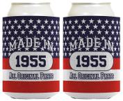 60th Birthday Gift Coolie Made 1955 Can Coolies 2 Pack Can Coolie Drink Coolers Coolies Patriotic