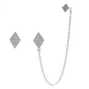 Sterling Silver CZ Diamond-Shape Single Stud and Ear Cuff Earrings