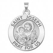 Custom Engraved Saint Joseph Religious Medal - Available in Solid 10K And14K Yellow or White Gold, or Sterling Silver