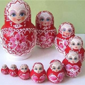 TStoy. 10 layers Beautiful Doll Wooden Toys Matryoshka Doll Kids Gift Russian Nesting Dolls Baby Toy Girl Doll red