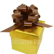 Decorative Gift Pull Bows, 13cm Wide, Set of 6, Chocolate Brown