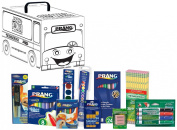 Dixon Prang School Kit with School Bus Activity Box, Includes Markers, Crayons, Pencils, Glue Stick and Watercolours, Assorted Colours