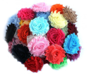 LIKA (50 pieces) Shabby Flowers - Chiffon Fabric Roses - 6.4cm - Solids Colour Mix - Single Flowers Grab Bag