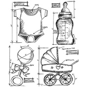 Stampers Anonymous Tim Holtz Cling Rubber Baby Blueprint Stamp Set, 18cm x 22cm