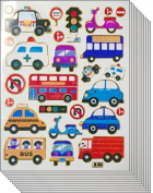 Jazzstick 210 Cute & Fun Cars Bus Ambulance Truck Stickers for Kids 10 sheets