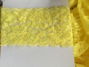 5 YDS 5.1cm Premium Lace Stretch Floral Lingerie Garter Headband Elastic - Bright yellow