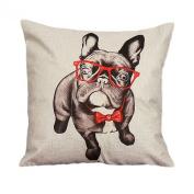 45cm*45cm Wensltd Cute Bulldog Cartoon Pillow Case Cusion Cover