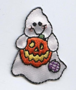 Ghost with Pumpkin Iron on Embroidered Patch