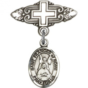 Sterling Silver Baby Badge with St. Frances of Rome Charm and Badge Pin with Cross 2.5cm X 1.9cm