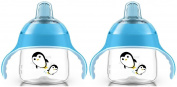Philips Avent 210ml My Penguin Sippy Cup, 2 Pack, Blue/Blue