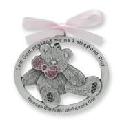 Pretty TEDDY BEAR Crib Medal for Baby GIRL Crib Medal with Verse 10cm PEWTER Finish - CHRISTENING/SHOWER GIFT/Baptism KEEPSAKE/with PINK RIBBON - INFANT - Newborn