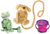 Goldbug Animal 2 in 1 Harness Twin Pack with Free Snack Cup, Frog/Dog