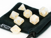 7 Piece Dice Set Ivory Opaque Polyhedral | PRISTINE Edition | FREE Carrying Bag | Hand Checked Quality With.