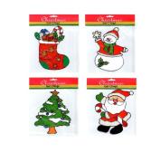 Christmas Glitter Gel Clings - 4 Pack