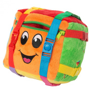 "BUCKLE TOY ""Bingo"" Activity Cube - Toddler Early Learning Basic Life Skills Children's Travel Plush"