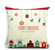 Merry Christmas Gifts to Every Home Cotton Linen Throw Pillow Case Cushion Cover Home Sofa Decorative 46cm X 46cm