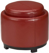 Safavieh Hudson Collection Bowery Red Leather Round Tray Ottoman