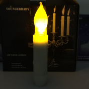 Youngerbaby Mini Battery Operated Wax Dipped White Body LED Taper Candles - Amber Flickering Led -Batteries Not Included