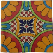 12 Hand Painted Talavera Mexican Tiles 10cm x 10cm Spanish Influence