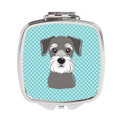 Checkerboard Blue Schnauzer Compact Mirror BB1144SCM