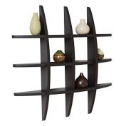 Black Finish Globe Cross Floating Display Wall Shelf 70cm x 11cm x 70cm