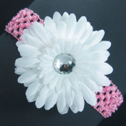 The Trendy Turtle 3-in-1 Gerber Daisy Flower Hair Clip Bow on Soft Stretch Crochet Child Headband fits Babies to Toddlers to Youth Girls
