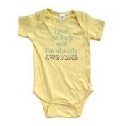 "Apericots Cute ""I Just Got Here and I'm Already Awesome"" Soft Funny Baby Creeper"