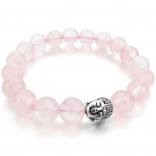 Women's 10mm 12mm Alloy Bracelet Link Wrist Energy Stone Crystal Pink Silver Buddha Mala Beads
