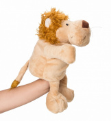 Flexibuy 30cm Babies Toddlers Velour Cute Yellow Lion Full Body Zoo Animal Hand Puppet Toys