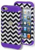 iPod Touch 5/6 Case, Bastex Heavy Duty Hybrid Protective Soft Purple Silicone Cover Hard Black and White Chevron Design Case for Apple iPod Touch 5, iPod Touch 6