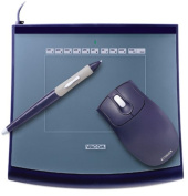Wacom Intuos2 4 x 5 - Mouse, digitizer, stylus - 13cm x 10cm - electromagnetic - 3 button(s) - wired - USB - blue - retail