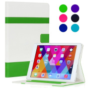 SAVEICON iPad 2 / 3 / 4 Retina Display Case - Green Folio Hybrid V2 Series iPad 2 / 3 / 4 PU leather Folio Case Cover with Stand Auto Wake / Sleep Smart Cover Book Shell Stand for Apple iPad 2 / 3 / 4 Wifi 3G 4G LTE with Built-in Stand