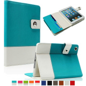 SAVEICON Blue Hybrid iPad 2 / 3 / 4 PU leather Case Cover with Card Slots Auto Wake / Sleep Smart Cover Book Shell Stand for Apple iPad 2/3/4 iPad 2nd 3rd 4th Gen Wifi 3G 4G LTE with Built-in Stand