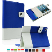 SAVEICON Royal Blue Hybrid iPad 2 / 3 / 4 leather Case Cover with Card Slots Auto Wake / Sleep Smart Cover Book Shell Stand for Apple iPad 2/3/4 iPad 2nd 3rd 4th Gen Wifi 3G 4G LTE with Built-in Stand