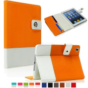 SAVEICON Orange Hybrid iPad 2 / 3 / 4 PU leather Case Cover with Card Slots Auto Wake / Sleep Smart Cover Book Shell Stand for Apple iPad 2/3/4 iPad 2nd 3rd 4th Gen Wifi 3G 4G LTE with Built-in Stand
