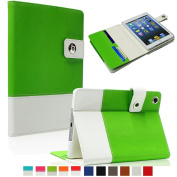 SAVEICON Green Hybrid iPad 2 / 3 / 4 PU leather Case Cover with Card Slots Auto Wake / Sleep Smart Cover Book Shell Stand for Apple iPad 2/3/4 iPad 2nd 3rd 4th Gen Wifi 3G 4G LTE with Built-in Stand