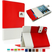 SAVEICON Red Hybrid iPad 2 / 3 / 4 PU leather Case Cover with Card Slots Auto Wake / Sleep Smart Cover Book Shell Stand for Apple iPad 2/3/4 iPad 2nd 3rd 4th Gen Wifi 3G 4G LTE with Built-in Stand