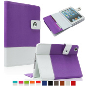 SAVEICON Purple Hybrid iPad 2 / 3 / 4 PU leather Case Cover with Card Slots Auto Wake / Sleep Smart Cover Book Shell Stand for Apple iPad 2/3/4 iPad 2nd 3rd 4th Gen Wifi 3G 4G LTE with Built-in Stand