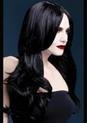 Womens Halloween Deluxe Gothic Long Black Wavy Khloe Wig