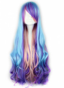 Generic Long Harajuku Curly Purple Multicolor Lolita Cosplay Wigs