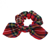 GIZZY® Girls Red Tartan Print Elasticated Hair Scrunchie with Bow.